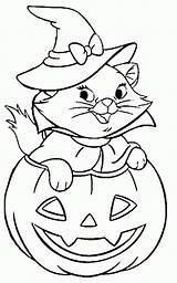 Coloring Cat Halloween Pages Printable sketch template