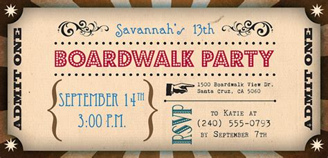 boardwalk theme birthday invitation  behance