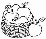 Apple Basket Coloring Drawing Pages Apples Line Fruit Sheet Template Sketch Getdrawings Fruits Place sketch template
