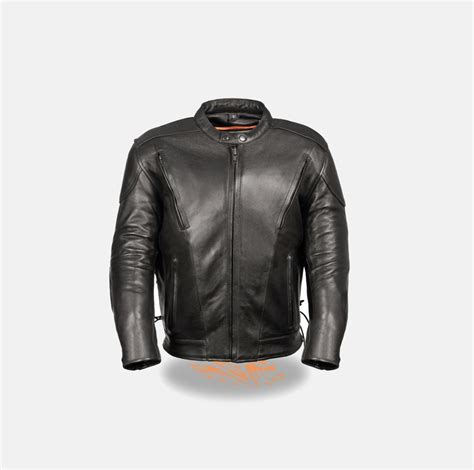 Mens Motorcycle Leather Jackets Vented Side Laces Black