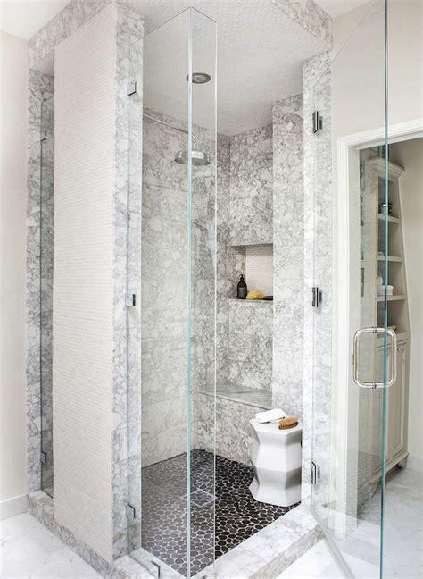 Black River Rock Shower Floor  Transitional Bathroom