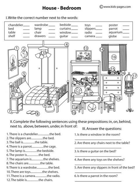 house bedroom b w worksheet