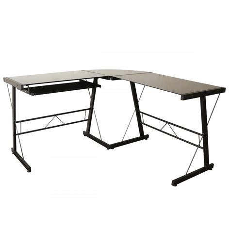 glass table computer desk l shape corner computer desk glass laptop table