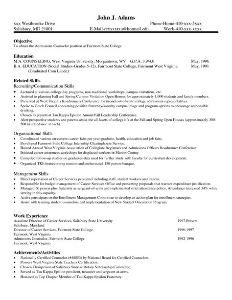 advanced excel resume sle resume for college admissions counselor