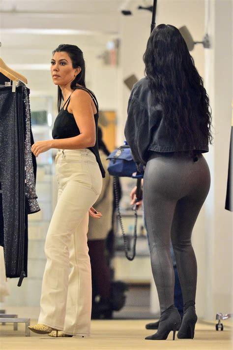 kim kardashian rocks dark grey leather bodysuit with ...