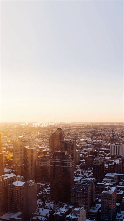 urban sunrise winter city skyview android wallpaper