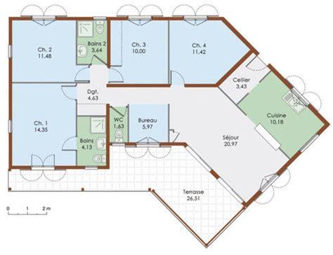 plan de maison 5 chambres plain pied gratuit plan de maison plein pied gratuit 4 chambres