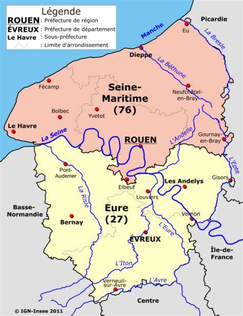 Carte Haute Normandie by Cartograf Fr Les R 233 Gions De La Haute Normandie