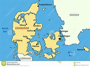 Map of Denmark - vector stock vector. Illustration of ...