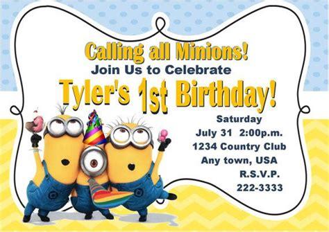 minions invitation template minion birthday invitations cimvitation