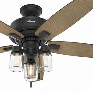 Hunter, Fan, 52, In, Rustic, Ceiling, Fan, With, Clear, Glass, Led