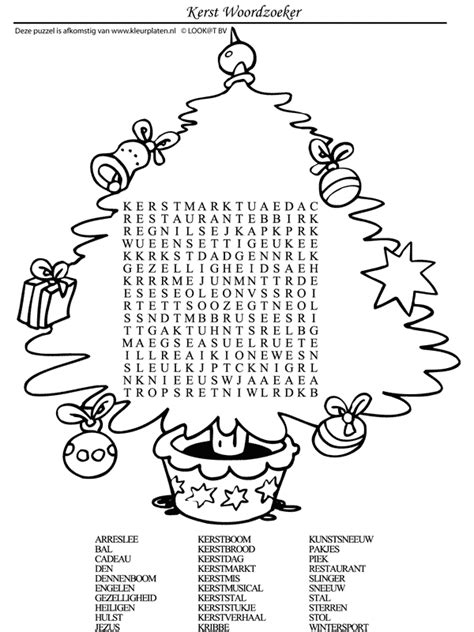 Kleurplaat Woorden by Kleurplaat Kerstpuzzel Woordzoeker Kleurplaten Nl