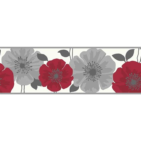 Wallpaper Border by Buy Decor Poppie Wallpaper Border White Silver