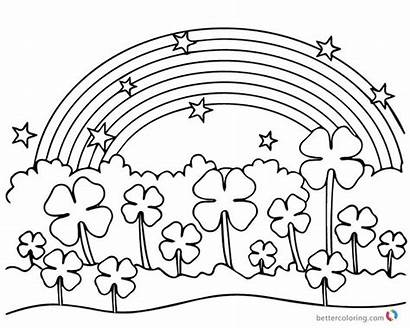 Coloring Clover Leaf Rainbow Four Flowers Under