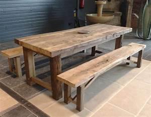 Table Et Banc En Bois : table exterieur bois fauteuil jardin trendsetter ~ Melissatoandfro.com Idées de Décoration