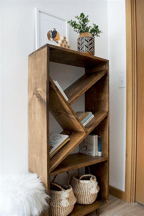 diy unique angled shelf bookcase knockoffdecorcom