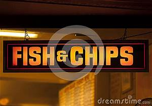 Fish And Chip Shop Neon Sign Stock graphy Image