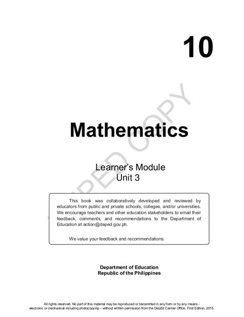 mathematics  learners material unit