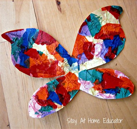 bugs and butterfies theme preschool activities 228 | Butterfly tissue painting craft Stay At Home Educator 1000x940