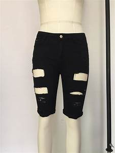 Inseam Size Chart Knee Length Ripped Jeans For Women Holes Plus Size Denim
