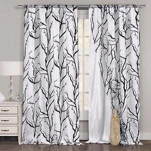 one black white window curtain panel tree branch design