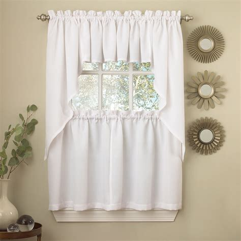 Kitchen Drapes And Curtains - white solid opaque ribcord kitchen curtains choice of