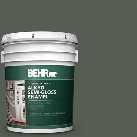 behr 5 gal n380 7 black bamboo gloss enamel alkyd interior exterior paint 393005 the