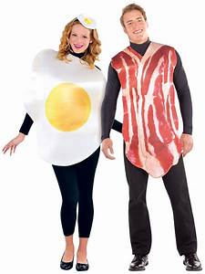 Couples Bacon And Egg Costume Funny Food Fancy Dress Mens
