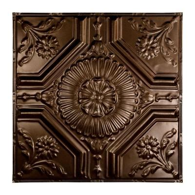rochester 2 ft x 2 ft nail up tin ceiling tile in bronze
