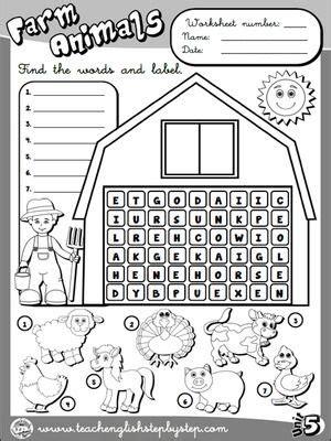 farm animals worksheet  bw version funtastic