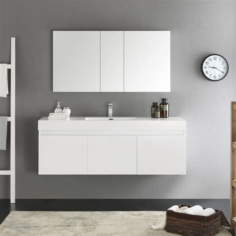 Modern Bathroom Vanity White by Convenience Boutique Fresca Mezzo 59 Quot White Wall Hung