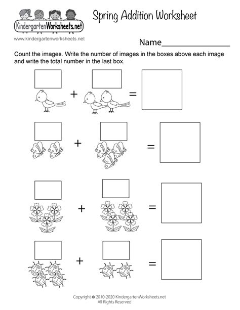 spring addition worksheet  kindergarten adding pictures