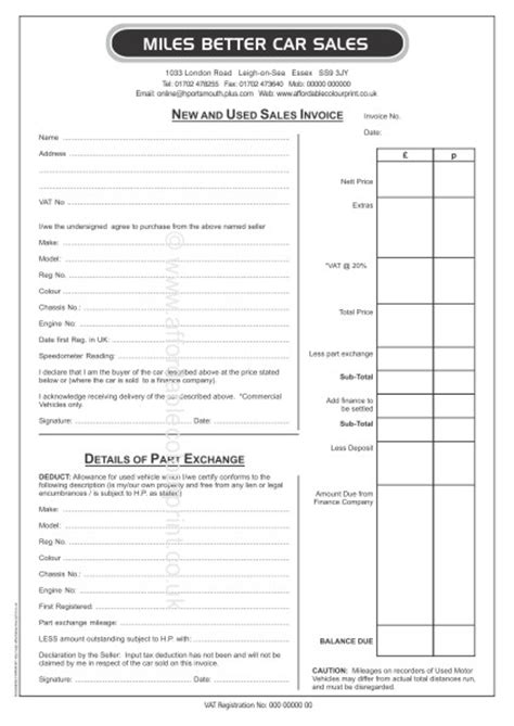 part car sales invoice pads