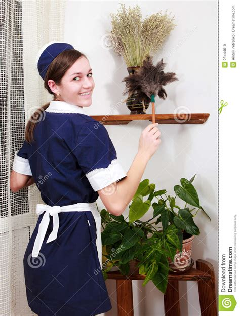Beautiful Woman With Cleaning Sweep Stock Image Image