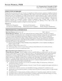 human resource resume summary human resources resume exle sle