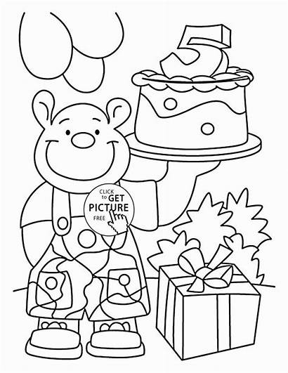 Coloring Birthday Happy Printable 5th Cards Printables