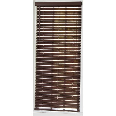 faux wood blinds lowes shop style selections 32 in w x 36 in l mahogany faux wood