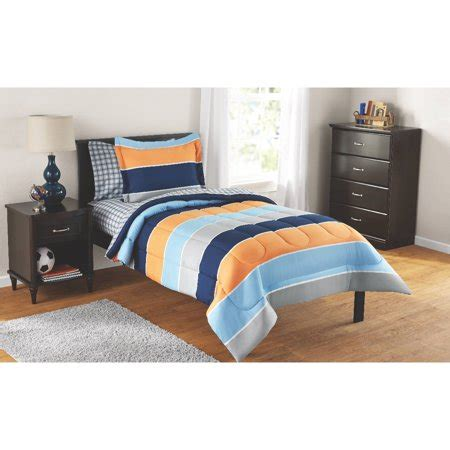 28053 mainstays bedding set mainstays rugby stripe bed in a bag complete bedding