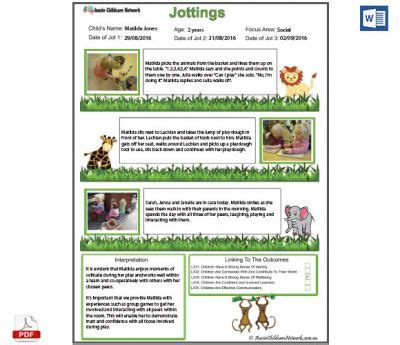 jottings observation template aussie childcare network
