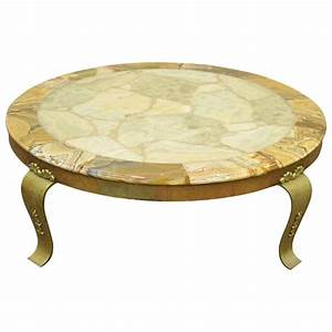 solid brass and onyx round coffee table by muller With solid brass coffee table