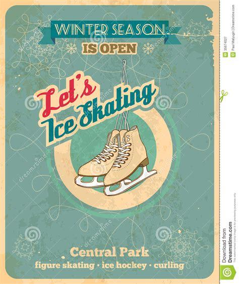 Ice Skating Retro Poster Royalty Free Stock Photography   Image: 35674027