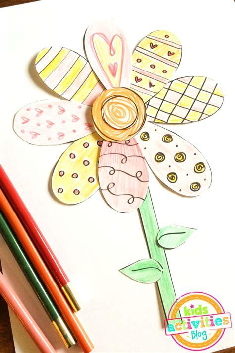 printable spring flower coloring craft