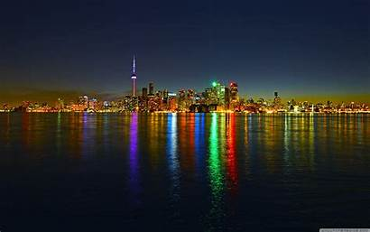 Toronto Skyline Night Wide 4k Wallpapers Desktop