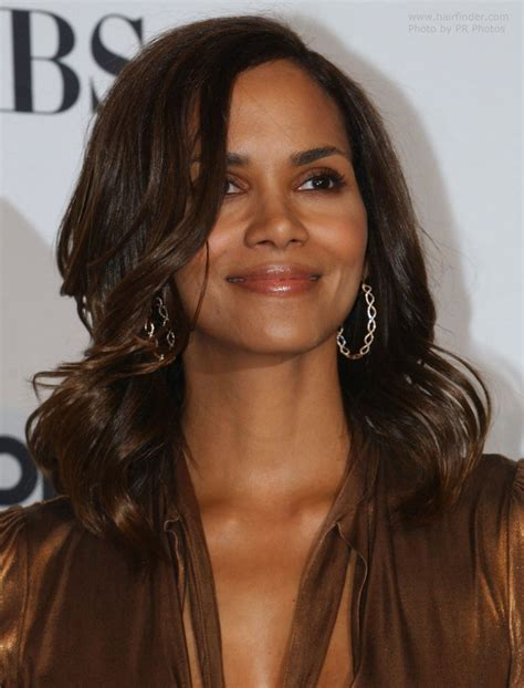 halle berry wearing  hair long  waves   face