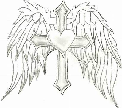 Cross Wings Coloring Angel Heart Pages Drawing