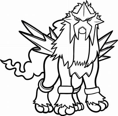 Pokemon Coloring Pages Legendary Entei Printable Water