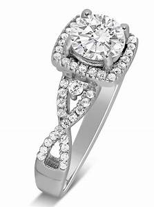 unique 1 carat round infinity halo diamond engagement ring With infinity diamond wedding ring