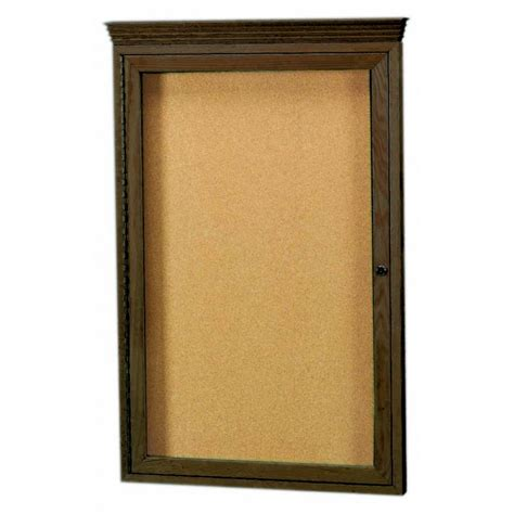 oak cabinet crown molding beechridgecs com walnut stained oak 1 door enclosed bulletin board cabinet