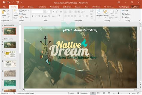 animated native dream powerpoint template