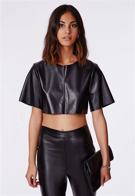 faux leather panel jacket faux leather crop top crop tops bralets missguided